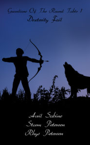 Silhouette image of a male archer facing a large wolf.