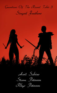 Silhouette image of a female mage facing a male warrior.