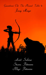 Silhouette image of a female archer facing an enormous frog.