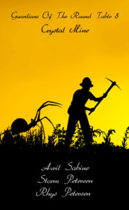 Silhouette image of an enormous spider creeping up on unaware miner.