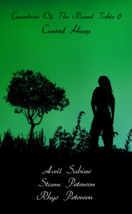 Silhouette image of a female next to a tree.